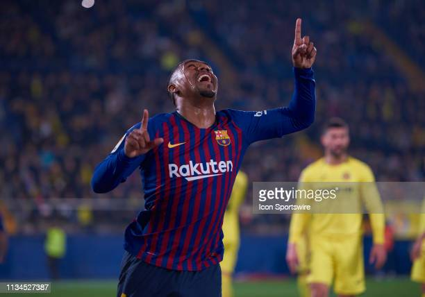 Malcom Filipe Silva de Oliveira, midfielder of FC Barcelona celebrates his goal during the La Liga match between Villarreal CF and FC Barcelona at...