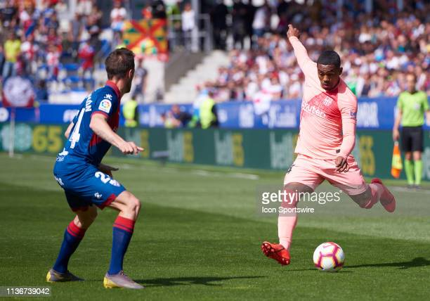 Malcom forward of FC Barcelona with the ball during the La Liga match between SD Huesca and FC Barcelona at Alcoraz stadium on April 13 2019 in...