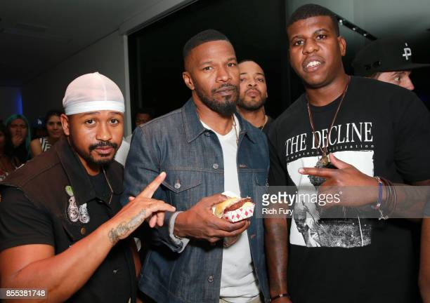 Malcom Livingston II Jamie Foxx Lester Walker and Jon Gray at HOME by Martell hosted by Jhene Aiko on September 28 2017 in Los Angeles California