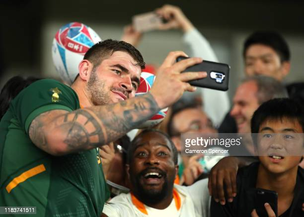Malcom Marx of South Africa takes a selfi during the Rugby World Cup 2019 SemiFinal match between Wales and South Africa at International Stadium...