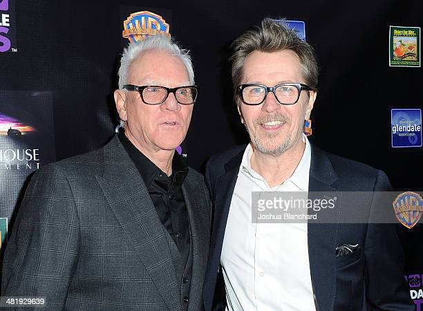 Malcom McDowell and Gary Oldman arrive at the Malcom McDowell series of QA screenings presents 'Clockwork Orange' at The Alex Theatre on April 1 2014...