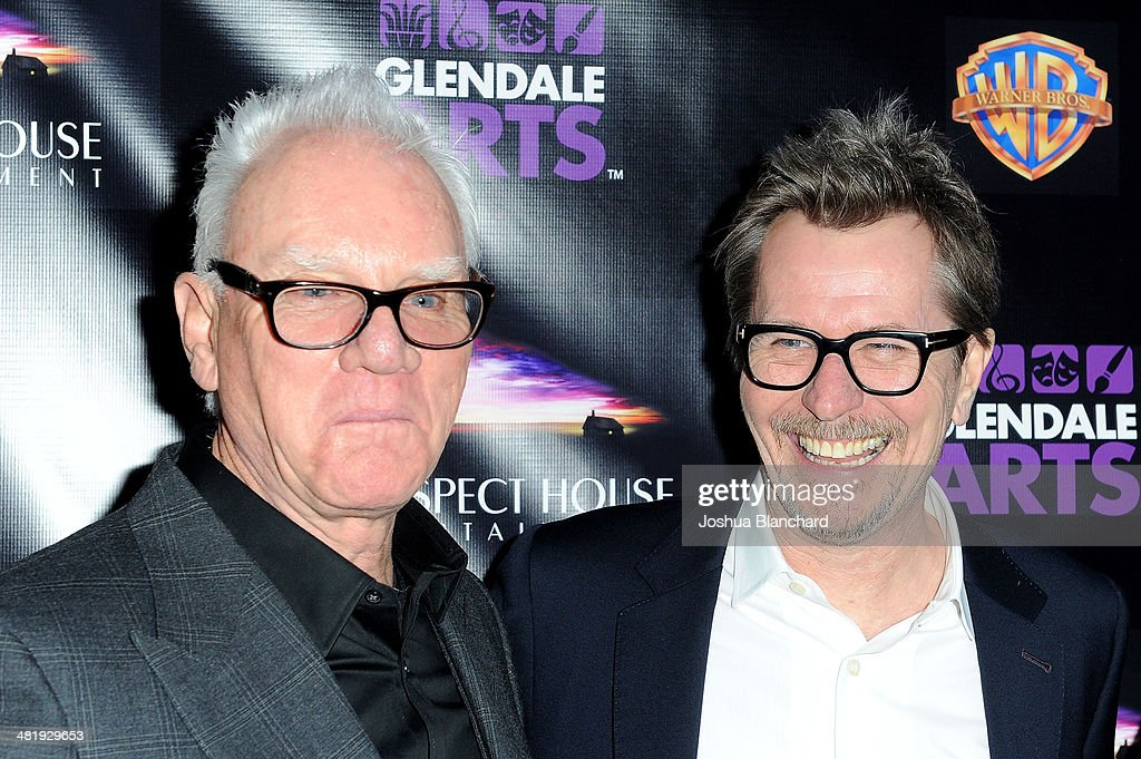 Malcom McDowell (L) and Gary Oldman arrive at the Malcom McDowell series of Q&A screenings presents 'Clockwork Orange' at The Alex Theatre on April 1, 2014 in Glendale, California.