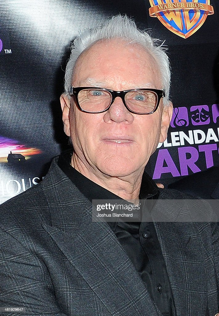 Malcom McDowell arrives at the Malcom McDowell series of Q&A screenings presents 'Clockwork Orange' at The Alex Theatre on April 1, 2014 in Glendale, California.