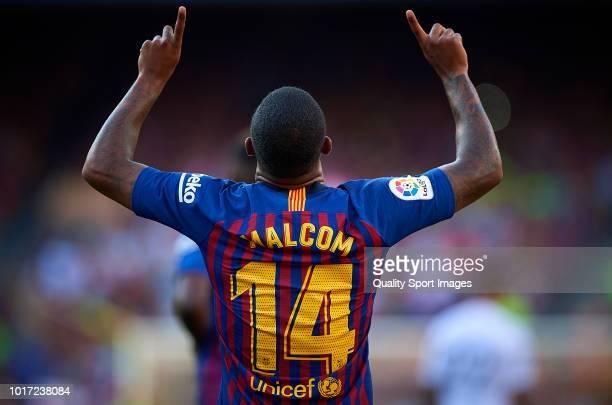Malcom of Barcelona celebrates after scoring a goal during the Joan Gamper Trophy match between FC Barcelona and Boca Juniors at Camp Nou on August...