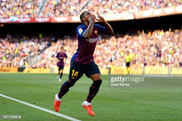 Malcom of Barcelona celebrates scoring his sides first goal during the Joan Gamper Trophy between FC Barcelona and Boca Juniors at Camp Nou on August...