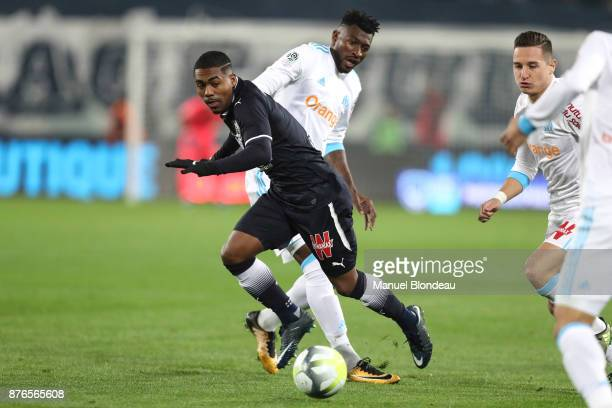 Malcom of Bordeaux and Andre Zambo Anguissa during the Ligue 1 match between FC Girondins de Bordeaux and Olympique Marseille at Stade Matmut...