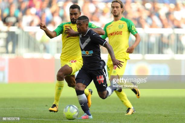 Malcom of Bordeaux and Levy Djidji of Nantes during the Ligue 1 match between FC Girondins de Bordeaux and FC Nantes at Stade Matmut Atlantique on...