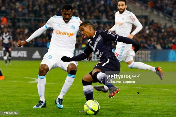 Malcom of Bordeaux and Zambo Anguissa of Marseille during the Ligue 1 match between Olympique Marseille and FC Girondins de Bordeaux at Stade...