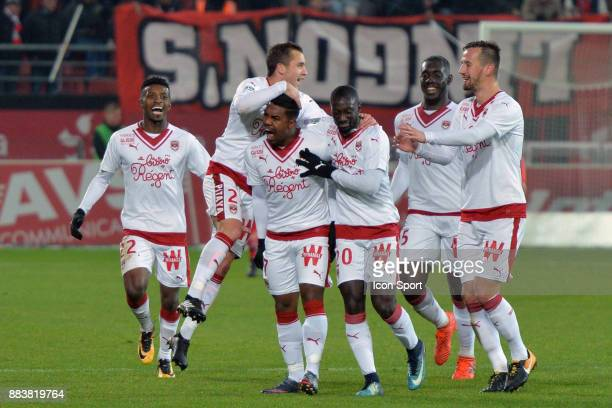 Malcom of Bordeaux celebrate with his teammate during the Ligue 1 match between Dijon FCO and FC Girondins de Bordeaux at Stade Gaston Gerard on...
