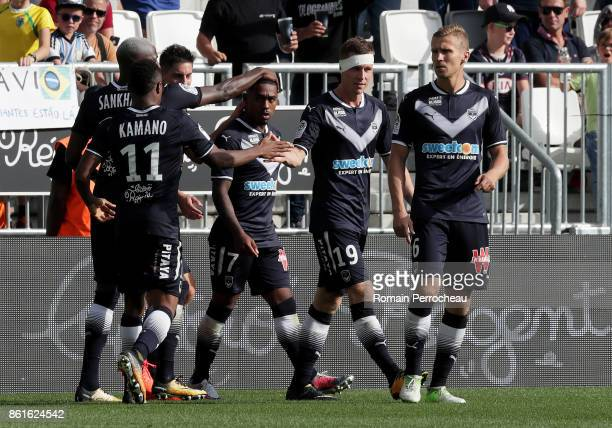 Malcom of Bordeaux celebrates after his goal during the Ligue 1 match between FC Girondins de Bordeaux and FC Nantes at Stade Matmut Atlantique on...
