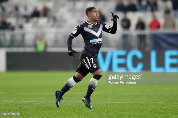 Malcom of Bordeaux gestures after his goal during the Ligue 1 match between FC Girondins de Bordeaux and AS SaintEtienne at Stade Matmut Atlantique...