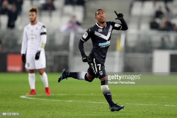 Malcom of Bordeaux gestures after his goal during the Ligue 1 match between FC Girondins de Bordeaux and AS Saint-Etienne at Stade Matmut Atlantique...