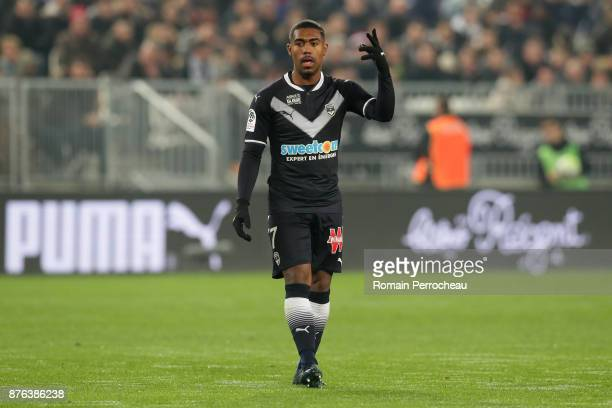 Malcom of Bordeaux gestures during the Ligue 1 match between FC Girondins de Bordeaux and Olympique Marseille at Stade Matmut Atlantique on November...