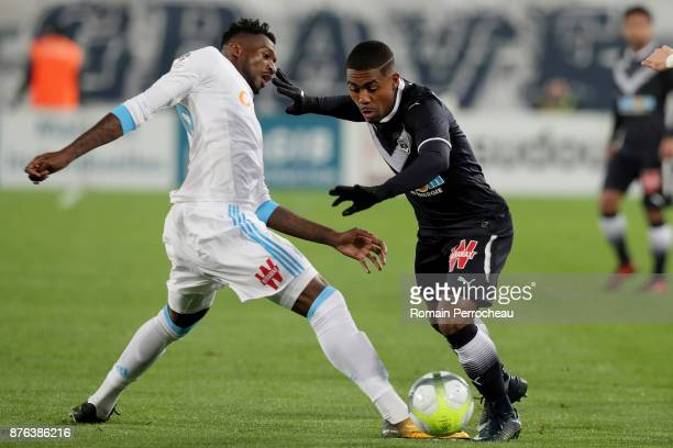 Malcom of Bordeaux in action during the Ligue 1 match between FC Girondins de Bordeaux and Olympique Marseille at Stade Matmut Atlantique on November...