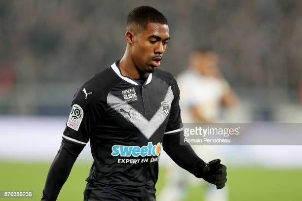 Malcom of Bordeaux looks on during the Ligue 1 match between FC Girondins de Bordeaux and Olympique Marseille at Stade Matmut Atlantique on November...