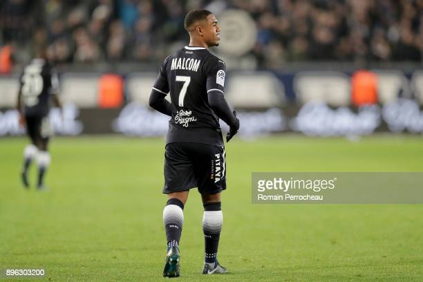 Malcom of Bordeaux looks on during the Ligue 1 match between FC Girondins de Bordeaux and Montpellier Herault SC at Stade Matmut Atlantique on...
