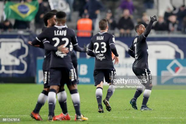 Malcom of Bordeaux reacts after his goal during the Ligue 1 match between FC Girondins de Bordeaux and AS SaintEtienne at Stade Matmut Atlantique on...