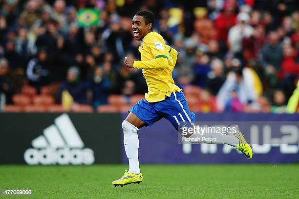 Malcom of Brazil celebrates after winning the FIFA U20 World Cup New Zealand 2015 quarter final match between Brazil and Portugal held at Waikato...