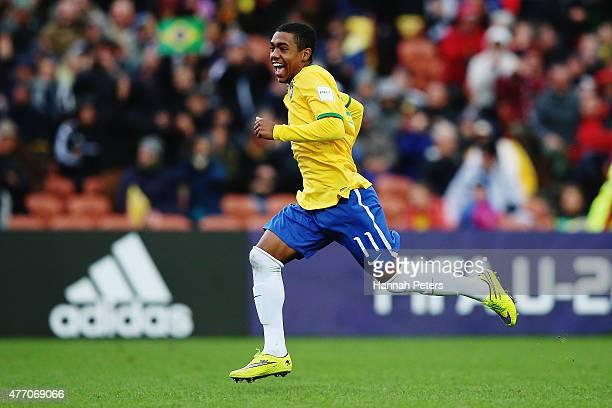 Malcom of Brazil celebrates after winning the FIFA U-20 World Cup New Zealand 2015 quarter final match between Brazil and Portugal held at Waikato...