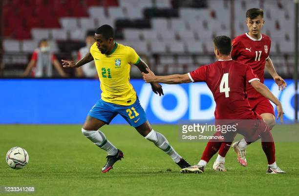 Malcom of Brazil in action against Danilo Mitrovic of Serbia during the International football friendly match between Serbia U21 and Brazil U23 at...