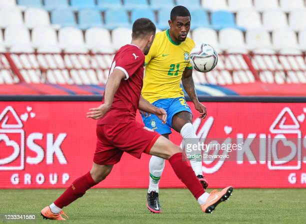 Malcom of Brazil in action against Ivan Milosavljevic of Serbia during the International football friendly match between Serbia U21 and Brazil U23 at...
