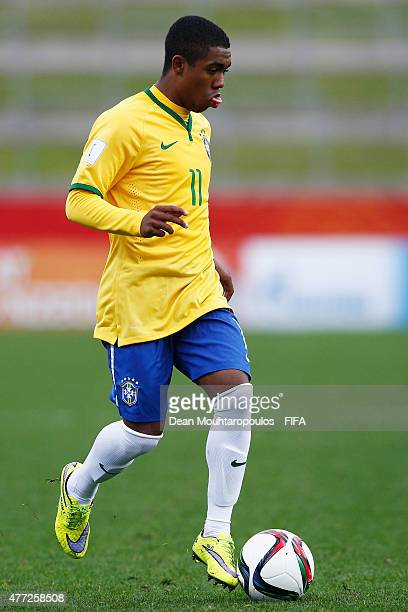 Malcom of Brazil in action during the FIFA U20 World Cup New Zealand 2015 quarter final match between Brazil and Portugal held at Waikato Stadium on...