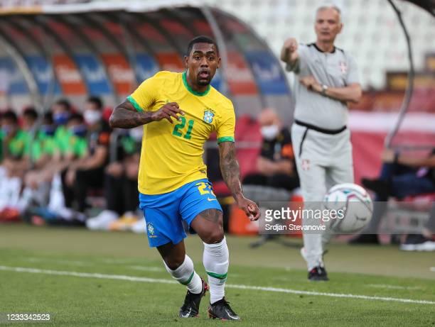 Malcom of Brazil in action during the International football friendly match between Serbia U21 and Brazil U23 at stadium Rajko Mitic on June 8, 2021...