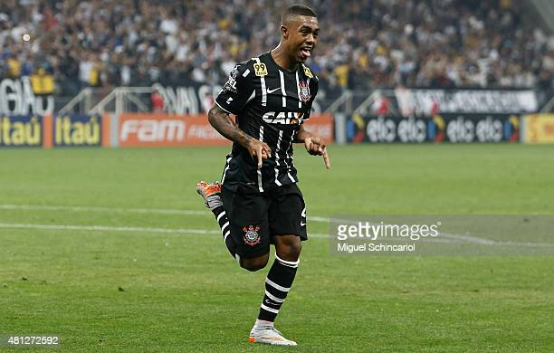 Malcom of Corinthians celebrates his goal scored against during a match between Corinthians v Atletico MG of Brasileirao Series A 2015 at Arena...