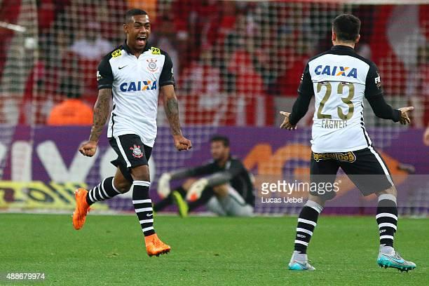 Malcom of Corinthians celebrates their first goal during the match between Internacional and Corinthians as part of Brasileirao Series A 2015 at...