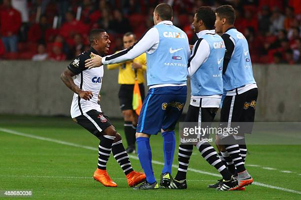 Malcom of Corinthians celebrates their first goal during the match between Internacional and Corinthians as part of Brasileirao Series A 2015 at...