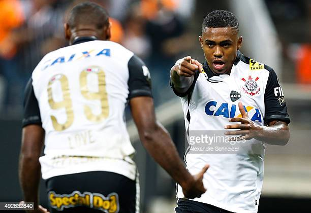 Malcom of Corinthians celebrates their second goal during the match between Corinthians and Goias for the Brazilian Series A 2015 at Arena...