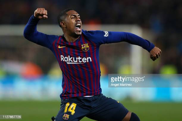 Malcom of FC Barcelona celebrates after scoring his team's first goal during the Copa del Semi Final first leg match between Barcelona and Real...