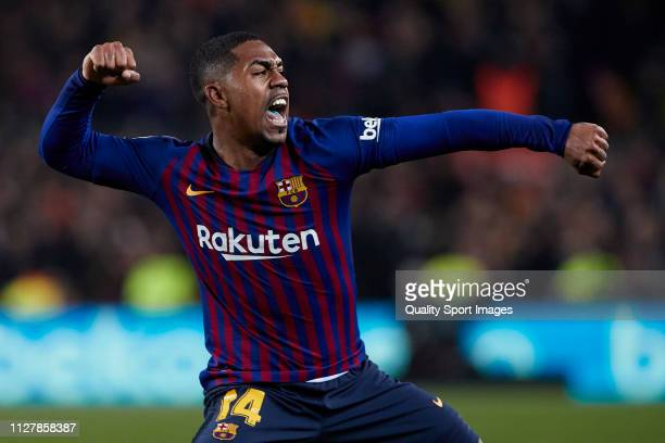 Malcom of FC Barcelona celebrates after scoring his team's first goal during the Copa del Rey Semi Final first leg match between FC Barcelona and...