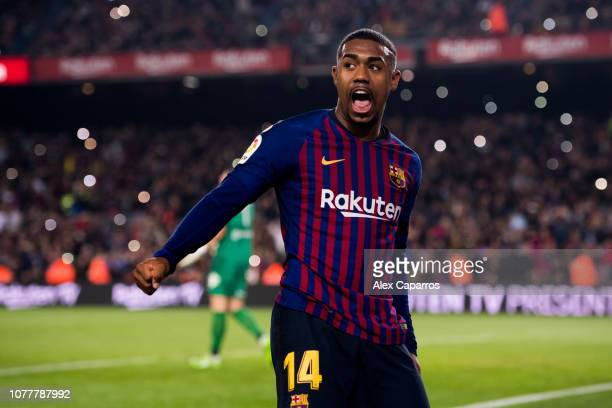 Malcom of FC Barcelona celebrates after scoring his team's third goal during the Copa del Rey fourth round second leg match between FC Barcelona and...