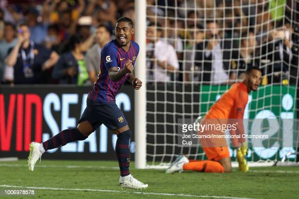 Malcom of FC Barcelona celebrates after scoring the match winning penalty over Tottenham Hotspur during an International Champions Cup match at Rose...