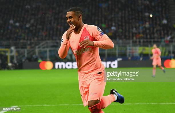 Malcom of FC Barcelona celebrates after scoring the opening goal during the Group B match of the UEFA Champions League between FC Internazionale and...