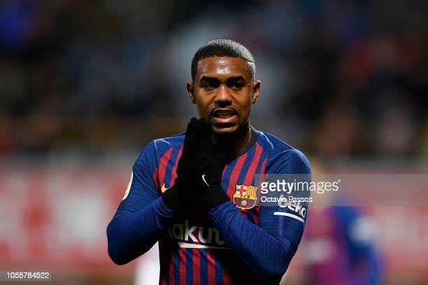 Malcom of FC Barcelona reacts after missing a goal opportunity during the Spanish Copa del Rey match between Cultural Leonesa and FC Barcelona at...