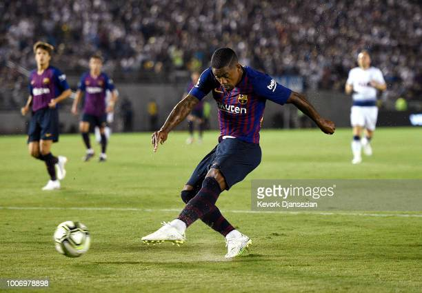 Malcom of FC Barcelona takes a shot on goal against of Tottenham Hotspur during the second half of an International Champions Cup 2018 match at Rose...