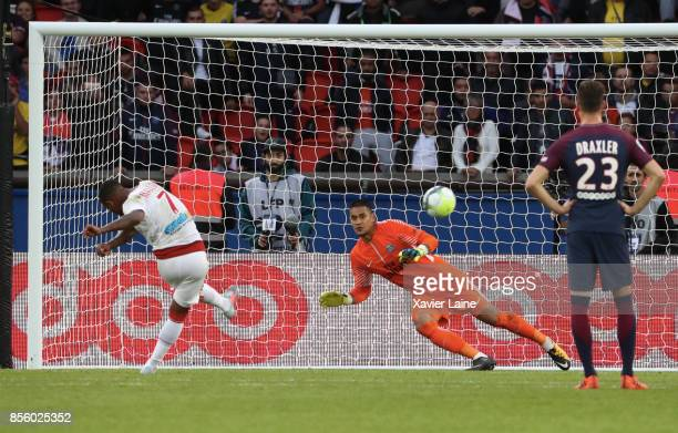 Malcom of FC Girondins de Bordeaux scores a penalty shoot over Alphonse Areola of PSG during the Ligue 1 match between Paris SaintGermain and FC...