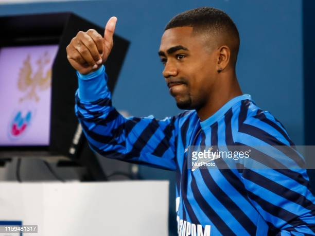 Malcom of FC Zenit Saint Petersburg gestures ahead of the Russian Premier League match between FC Zenit Saint Petersburg and FC Krasnodar on August...
