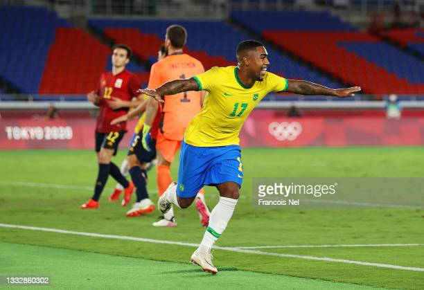 Malcom of Team Brazil celebrates after scoring their side's second goal during the Men's Gold Medal Match between Brazil and Spain on day fifteen of...