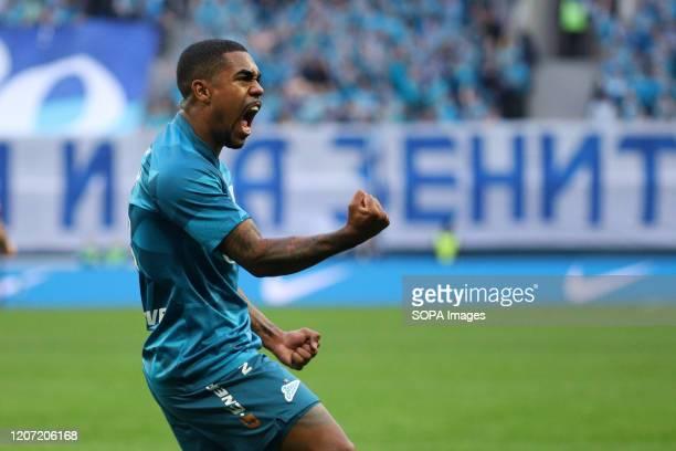 Malcom of Zenit celebrates after scoring a goal during the Russian Premier League match between FC Zenit St. Petersburg and FC Ural Ekaterinburg. .