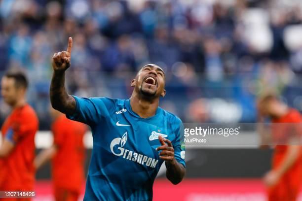 Malcom of Zenit Saint Petersburgc celebrates his goal during the Russian Premier League match between FC Zenit Saint Petersburg and FC Ural...