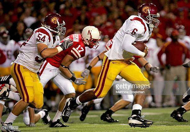 Malcom Smith of the USC Trojans carries the ball after a Chauncey Washington fumble on a kickoff against the Nebraska Cornhuskers on September 15...