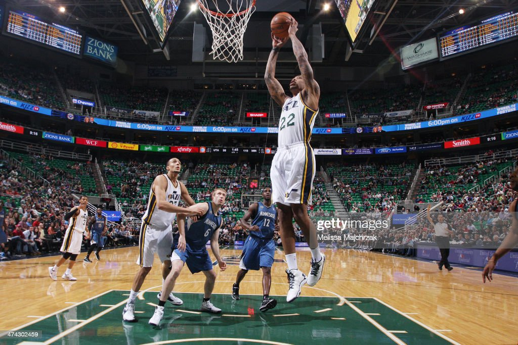 Malcom Thomas #22 of the Utah Jazz scores his first points with the Utah Jazz against the Minnesota Timberwolves at EnergySolutions Arena on February 22, 2014 in Salt Lake City, Utah.