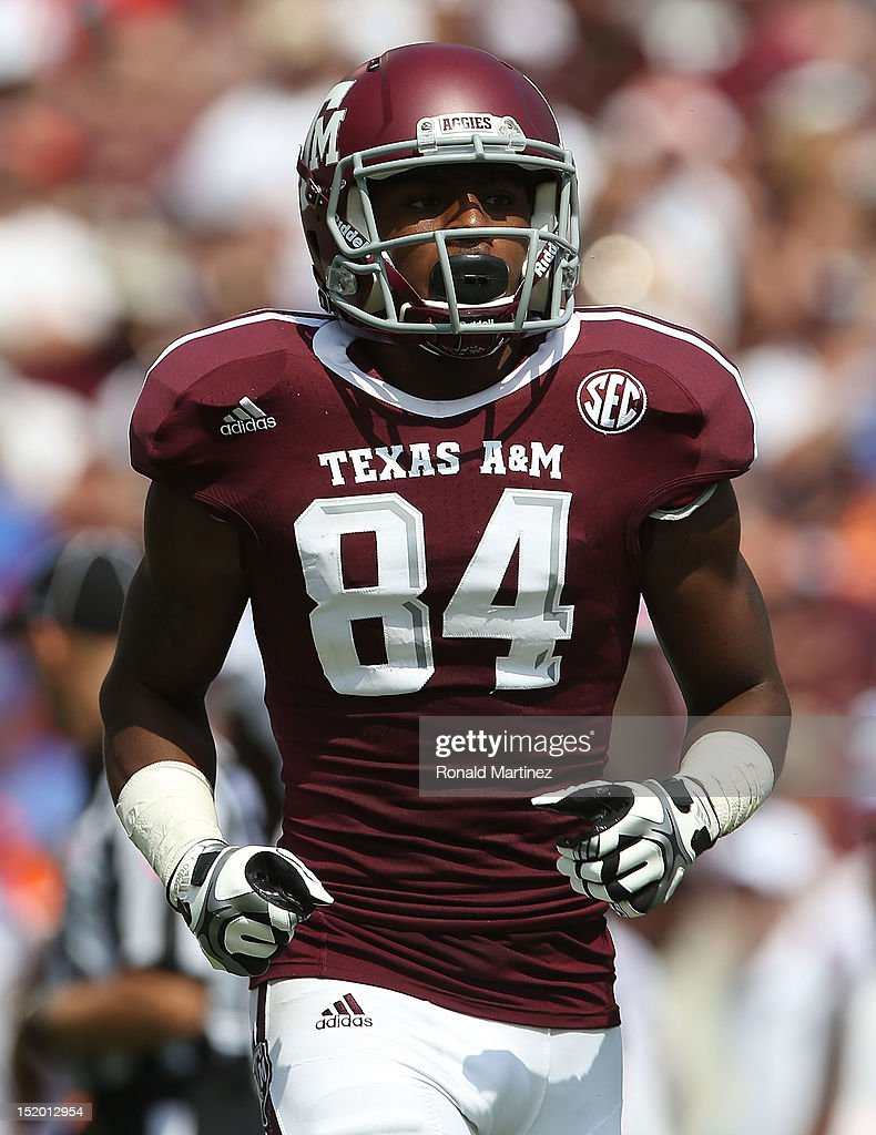Malcome Kennedy #84 of the Texas A&M Aggies at Kyle Field on September 8, 2012 in College Station, Texas.