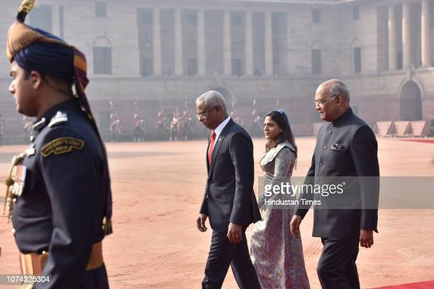 Maldivan President Ibrahim Mohamed Solih along with his wife Fazna Ahmed and President Ram Nath Kovind during Solih's ceremonial reception at...