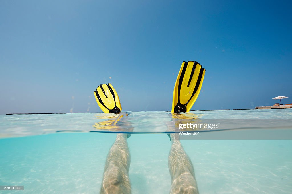 Maldives, mans feet with flippers in shallow water : Stock Photo