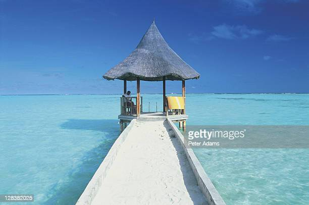 maldives, pier and ocean - peter adams stock pictures, royalty-free photos & images