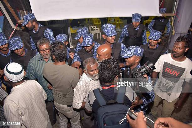 Maldives police forcibly enter the main opposition Maldivian Democratic Party camp to break up celebrations of opposition supporters gathered to...